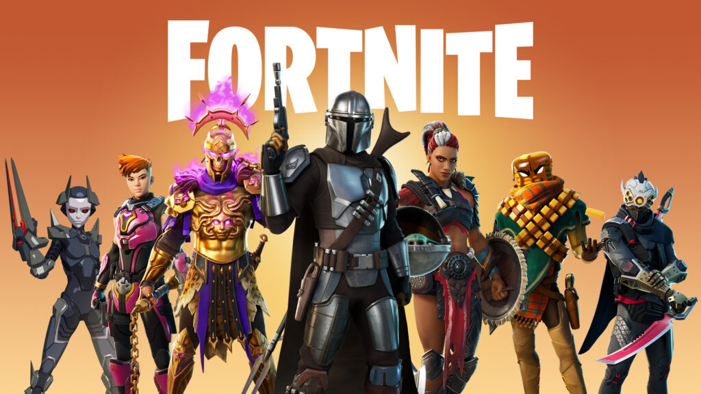 Fortnite with Mandalorian up front